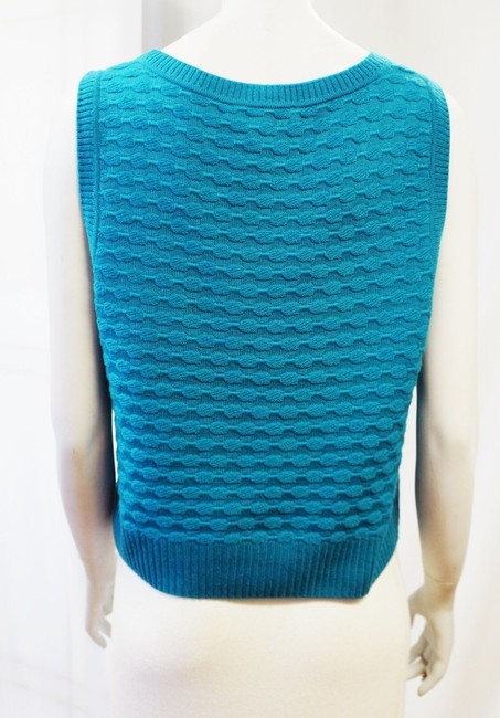St. John Textured Wool Popcorn Texture Scoop Neck Shell Large Size 14 Size 16 Top Teal