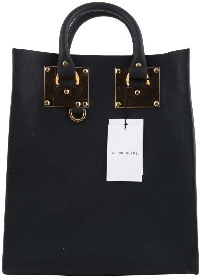 3ad95ec84 Sophie Hulme Albion Mini Black Leather Tote - Tradesy
