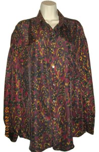 Perry Ellis Sleeve Silk Top Multicolored