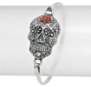 Vintage Antique Silver Retro Chic Hook Skull Bracelet Halloween Party Jewelry Accessory