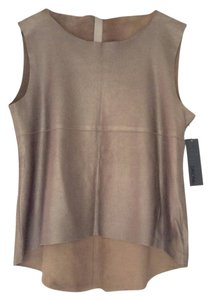 DROMe Perforated Leather Edgy Top Metallic Greige