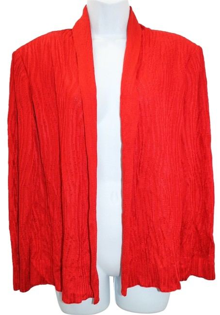 St. John Red Knit Cardigan