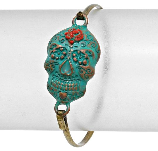Preload https://item3.tradesy.com/images/antique-gold-patina-blue-red-vintage-retro-chic-hook-skull-halloween-party-bracelet-6126232-0-0.jpg?width=440&height=440