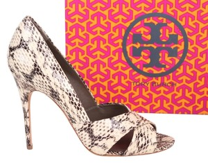 Tory Burch Amira Snake Snakeskin Embossed Leather Neutral Sandals