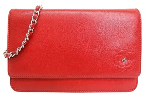 Chanel Chanel Wallet on a Chain Red Camellia Flower WOW Silver Chain Cross Body