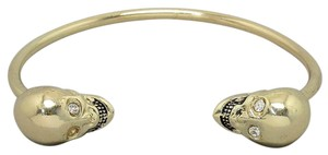 Gold Tone Skullz Cuff Bracelet Bangle Halloween Party Jewelry Accessory