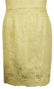 Casual Corner 100% Linen Knee-length Straight-pencil Embroidered Scalloped Hemline Skirt Beige