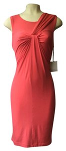 Calvin Klein short dress Coral Summer Pink Asymmetric Neckline Stretchy 12 Summer on Tradesy