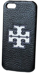 Tory Burch PHONE CASE TORY BURCH BRAND NEW JESSICA HARDSHELL IPHONE 5 CASE COVER LEATHER WITH EMBOSSED LOGO BLACK WHITE