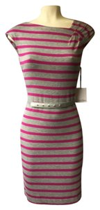 Calvin Klein short dress Pink Gray Summer Gray Pink Striped Belted Stretchy on Tradesy