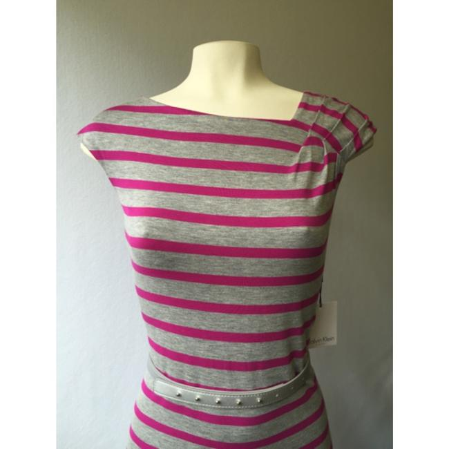 Calvin Klein short dress Pink Gray Summer Striped Belted Stretchy on Tradesy