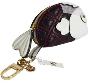Tory Burch $95 TORY BURCH BRAND NEW WITH TAGS DREW FISH KEY HOLDER FOB COIN PURSE QUILTED LEATHER GOLD TORY NAVY