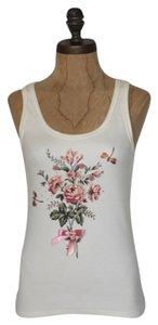 Victoria's Secret Floral Ribbon Bow Top IVORY