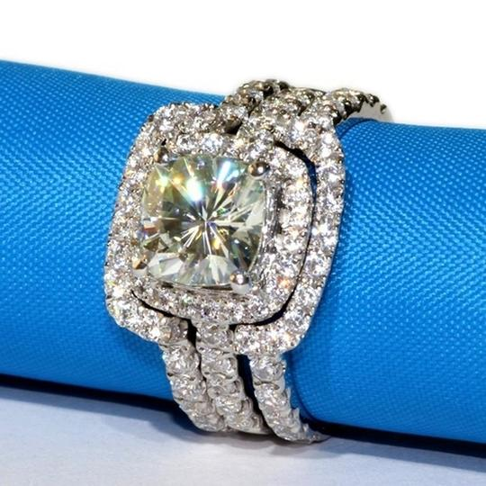 4 Cttw 3ct Center Nscd Sona Set Band Cushion Square Simulated Cushion Cut Diamond Set - We Can Engagement Ring