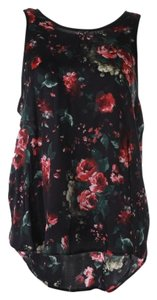 Charles Henry Floral Faux Leather Top multi-color