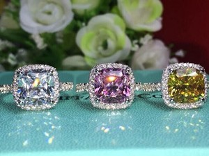 3ct Center Nscd Sona Cushion Square Simulated Cushion Cut Diamond Wedding Set Engagement Ring Pink Yellow White 14k - We