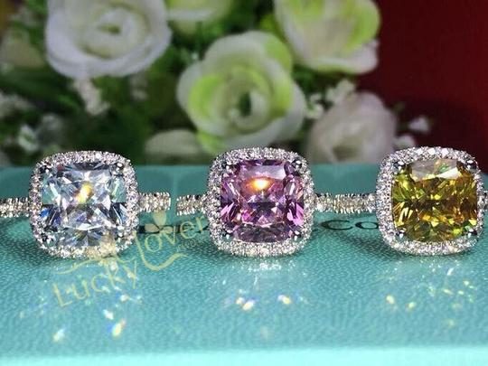 3ct Center Nscd Sona Cushion Square Simulated Cushion Cut Diamond Set Pink Yellow White 14k - We Engagement Ring