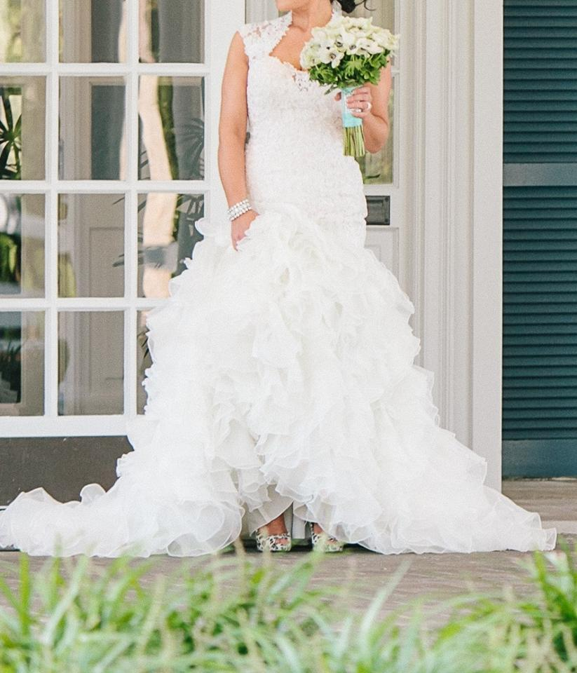 David Tutera for Mon Cheri Ivory & Blush Lace Organza Tulle Crawley ...