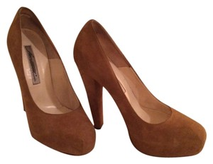 Brian Atwood Suede Platform Power Coffee/tan/brown Pumps