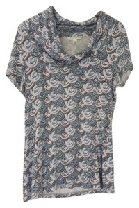 Banana Republic Rayon Graphic Top Teal and Gray