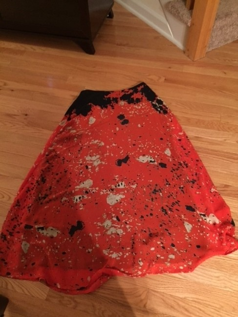 MADE Fashion Week for Impulse Size 2 Small Zipper Back Gold Pockets Maxi Skirt Dark blue, red and cream