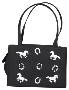 Other Microfiber Horseshoes Embroidered Satchel in Black