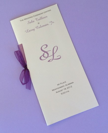 50 Metallic Silver And Purple Wedding Program