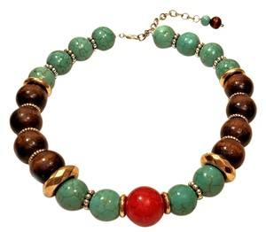 ClassierDeals Turquoise, Esspresso Wood, Gold Silver Bead Collar Necklace