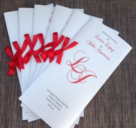 Set Of 50 Metallic Silver And Red Wedding Program