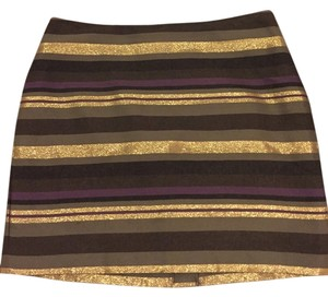 Banana Republic Stripe Metallic Mini Skirt Brown/ Gold/ Purple