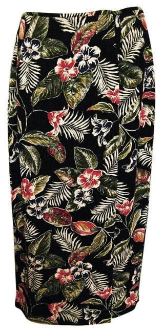 Josephine Chaus Wrap Sarong Floral-tropical Pattern Skirt Multi-Color