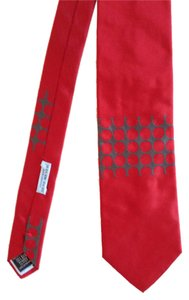 Gene Meyer Modern Tie in Red and Grey