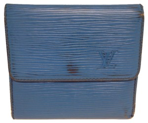 Louis Vuitton Louis Vuitton #2852 Monogram Blue Epi Leather Double Sided Sqaure Wallet Pocket Bill Holder Card Case Coin Purse