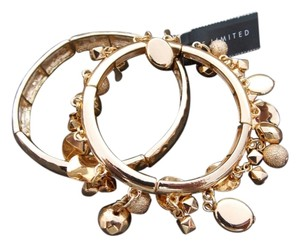The Limited NWT The Limited 2 Piece Stretch Goldtone Charm Bracelet