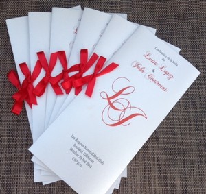 Set Of 100 Metallic Silver And Red Wedding Program