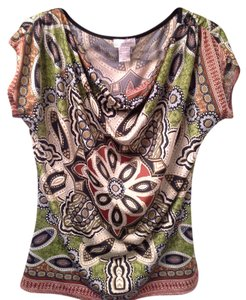 Monroe & Main Colors Silky Material Top green, black, rust mulit