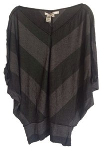Max Studio And Graystriped V-neck Dolman Sleeve Top Black/Gray