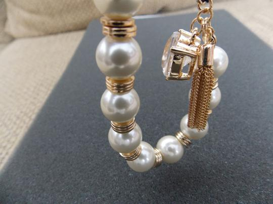 "The Limited NWT The Limited Pearl Goldtone Toggle Closure Bracelet 7.5"" Long"