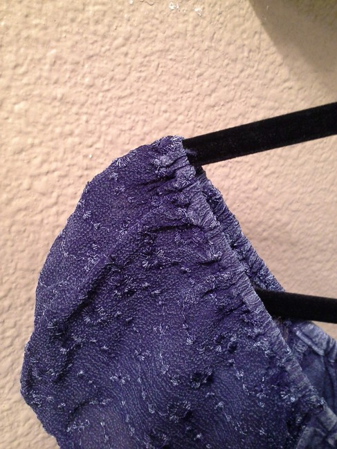 Casual Living Lacey Sleeves Details Top Denim Blue