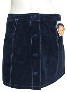 Enyce New Navy Embroidered White Detail Buttoned Front Size 8 M Mini Nwt Genuine Real Suede Leather Beltloops Mini Skirt blue