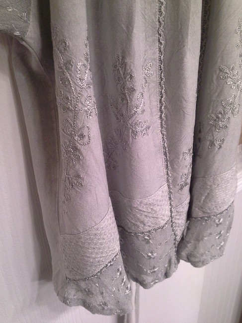 Casual Living Sheer Lace Sleevs Tie Back Pretty Front Details Top sage green