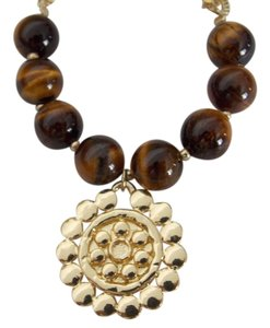 The Limited Stretch Tiger Eye Glass Goldtone Stacking Bracelet