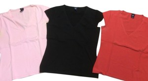 Gap Short Sleeves V-neck Top Coral, Black, Pink