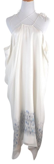 Thomas Wylde Pinstripe Silk Bullets Silver Sequin Embelished Beach Cover Up Size Small Ivory Dress