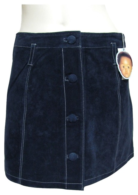 Enyce New Navy Embroidered White Detail Buttoned Front Size M Genuine Real Suede Leather Beltloops 10 Mini Skirt blue