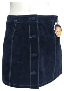 Enyce New Navy Embroidered White Detail Buttoned Front Size Mini Nwt Genuine Real Suede Leather Beltloops 6 S Mini Skirt blue