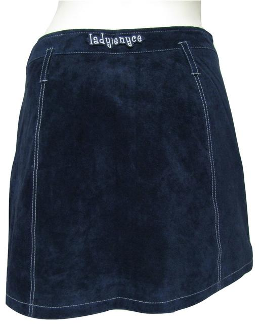 Enyce Navy Suede Genuine Leather Mini Buttoned 8 Medium M White Embroidery Mini Skirt blue