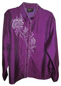 Bob Mackie Embroidered Top Purple