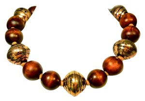 Designer Chestnut Wood & Brass Tan Leather Collar Necklace