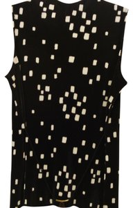 Rafael Sleeveless Plus-size Pleat Pleat Top Black/White Print